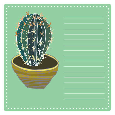clay pot: Cactus plant in clay pot. Hand drawn vector illustration. Illustration