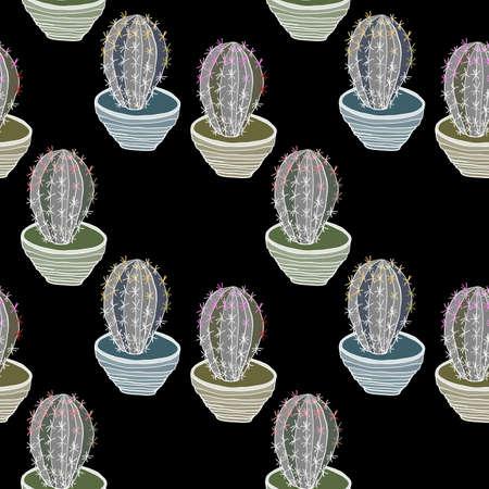 flowerpots: Cacti in flowerpots seamless pattern. Hand drawn vector illustration. Illustration