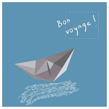 voyage: Postcard or poster with a paper boat, wave and hand written text Bon Voyage!.