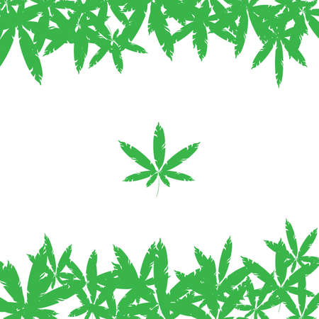 backgound: backgound with green cannabis leaves. Illustration