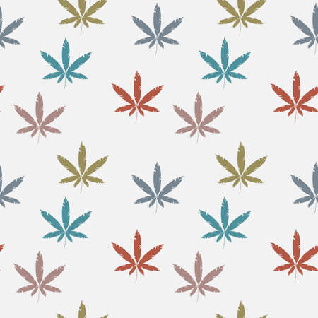 cannabis sativa: Seamless pattern with cannabis leaves.
