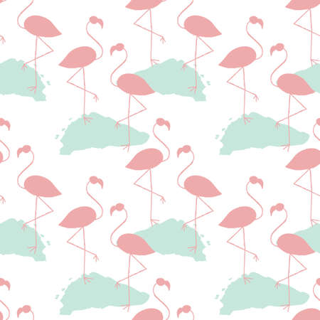 webbed legs: Seamless vector pattern with pink flamingoes on a blue hassock.