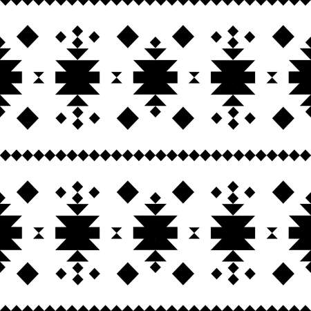 ethnical: Seamless pattern in black and white ethnical tibal native american style.