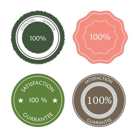 colores pastel: Conjunto de iconos de garant�a de satisfacci�n en colores pastel
