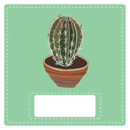 clay pot: Cactus plant in clay pot . Hand drawn vector illustration. Illustration