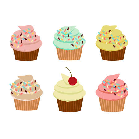 sprinkles: Colorful cupcakes with sprinkles. Illustration