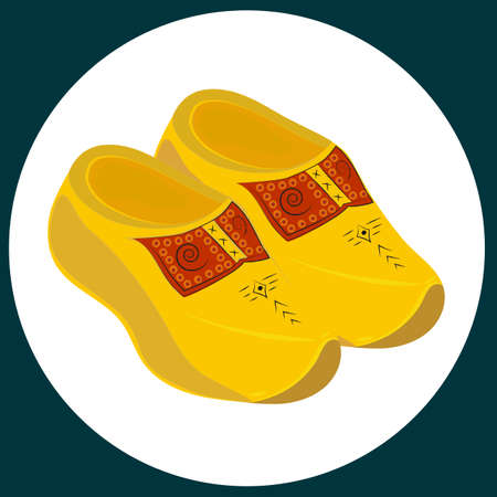 dutch culture: Hand drawn illustration of a pair of dutch wooden shoes - klompen.