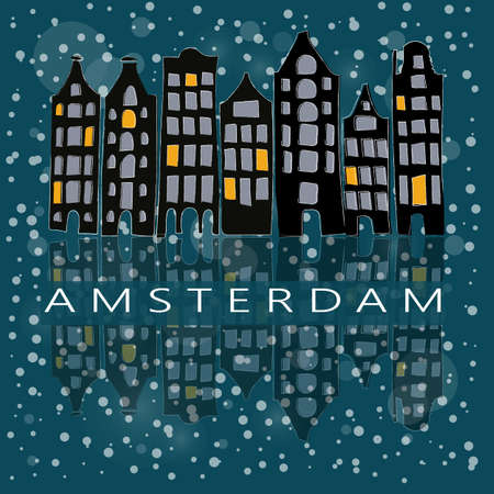 canal houses: A row of stylized amsterdam canal houses at winter night. Dark blue background with snow. Illustration