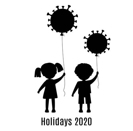 A boy and a girl hold balloons-coronavirus. Symbol of prohibition of celebration of a holiday, party, birthday. Silhouette