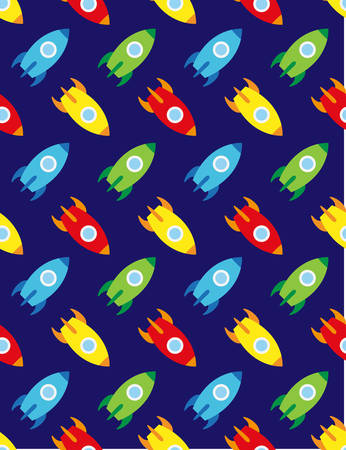 Rocket and planets in space, seamless children pattern, red, dark blue backgroun