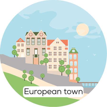 European town Sea Architecture Vector Illustration