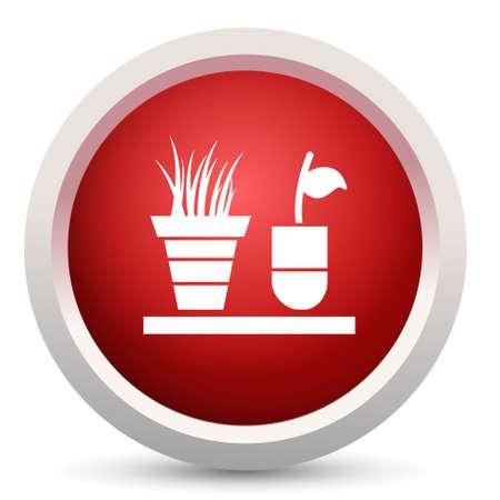 plant in pot: plant pot button Illustration
