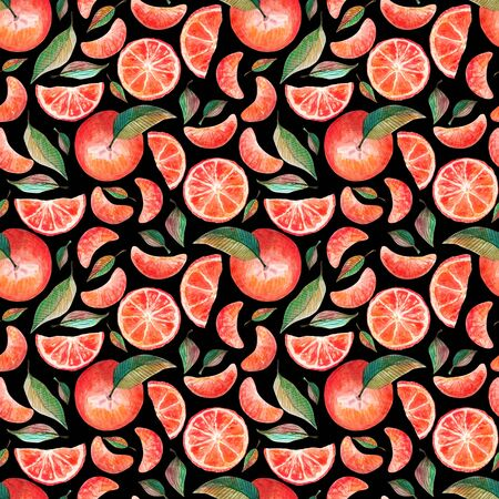 Watercolor seamless pattern with red oranges tangerines citrus fruits green leaves isolated on white background. Fruit repeated background. Botanical illustration for fabric textile