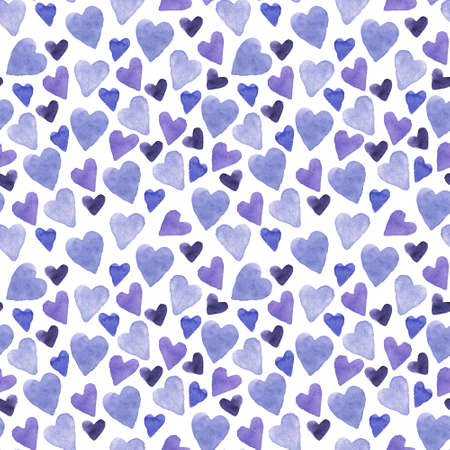 Seamless pattern with hand-drawn watercolor hearts on a white background. Valentine's day texture for design Stok Fotoğraf