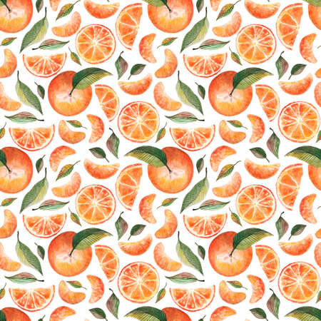 Watercolor seamless pattern with oranges tangerines citrus fruits green leaves isolated on white background.