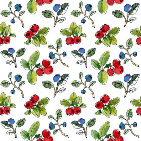 Colorful watercolor berry seamless pattern. Ripe blueberry and cranberry. Delicious forest fruit illustration. Stok Fotoğraf