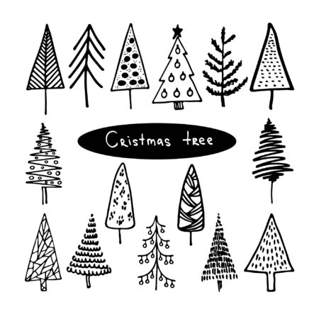 Hand drawn Christmas tree vector set. Doodle ink sketched illustration. Cute abstract conifer pine fir christmas needle trees collection. For cards and package design. Vector elements