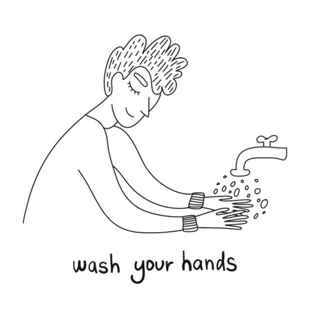 Washing hands to sanitize and disinfect COVID-19. Man washing hands with soap with bubbles. Virus prevention concept. COVID-19 hygiene promotion with washing your hands. . Personal hygiene. Disinfection, antibacterial washing.
