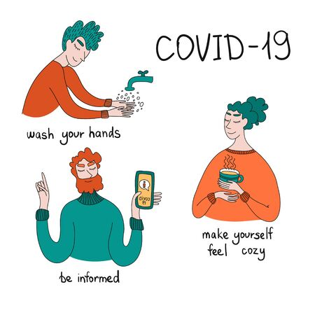 Self-isolation during an epidemic. People take care of themselves. Stay up to date. Stay home. Wash your hands. Coronovirus. Positive recommendations during the epidemic. Social distancing and self-isolation during corona virus quarantine. Çizim