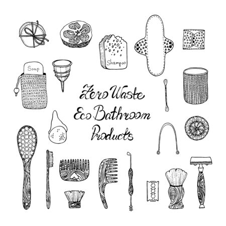 Zero waste bathroom accessories set: wooden comb, jute washcloth, bamboo toothbrush, organic soap, pumice, loofah, reusable menstrual cup. Reusable eco-friendly hygiene items. Hand drawn