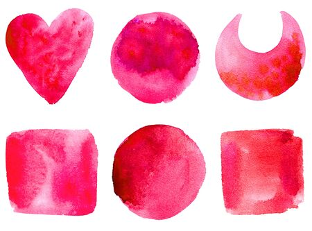 Set of hand drawn watercolor shapes: circle, square, heart crescent moon. Isolated real aquarelle stains for your design. watercolor texture hand drawing. Standard-Bild