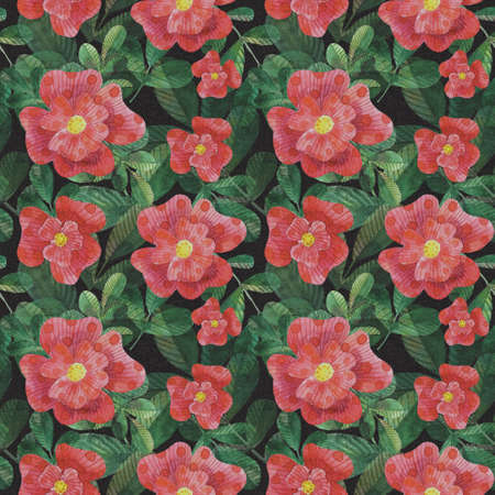 Watercolor stylized roses seamless pattern for printing on fabric, gift wrapping paper, for creating design postcards, invitations.