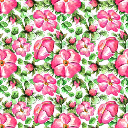 Seamless watercolor pattern with hand-drawn pink wild rose flowers for your print and textile design. scarlet flowers and buds, green rosehip leaves on a white background. delicate feminine spring pattern