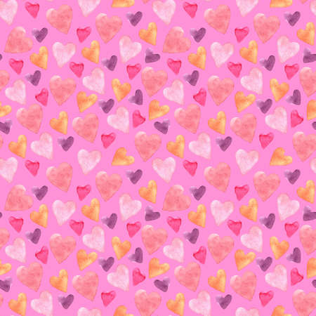 Seamless pattern with hand-drawn watercolor hearts on a pink background. Valentine's day texture for design of wrapping paper, postcards, fabric and other souvenir products. Raster illustration of cute hearts. Stok Fotoğraf