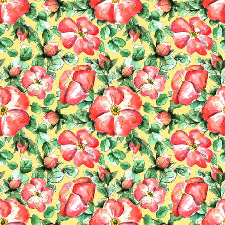Seamless watercolor pattern with hand-drawn coral wild rose flowers for your print and textile design. scarlet flowers and buds, green rosehip leaves on a yellow background. delicate feminine spring pattern