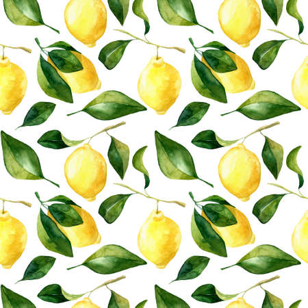 Seamless hand rawn watercolor lemon pattern on white background. Botanical illustration of yellow citrus fruits. Ideal for food packaging design . ornament on white background for design, fabric or print