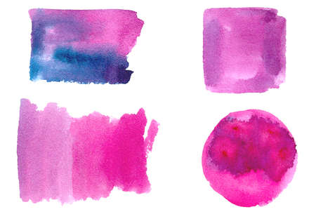 Set of watercolor brush stroke, stain, splatter and shapes: circle, square. Isolated real aquarelle stains for your design. watercolor texture hand drawing blue, turquoise, cyan colour.