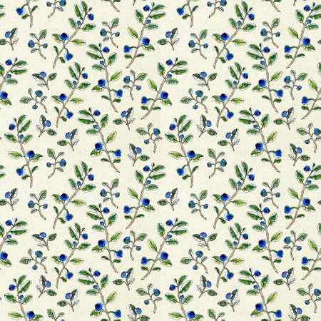 Seamless pattern hand-drawn graphic watercolor sketchy blueberry twigs with leaves and berries on a white alabaster background. Natural pattern for your design for cards, packaging, sovereign products