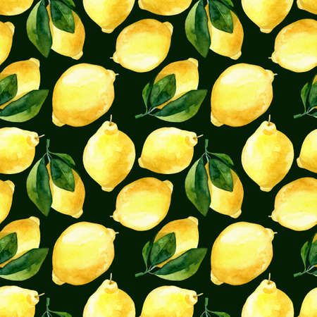 Seamless hand rawn watercolor lemon pattern on dark green background. Botanical illustration of yellow citrus fruits. Ideal for food packaging design . ornament on white background for design, fabric or print Stok Fotoğraf