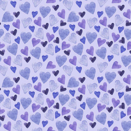 Seamless pattern with hand-drawn watercolor hearts on a blue background. Valentine's day texture for design of wrapping paper, postcards, fabric and other souvenir products. Raster illustration of cute hearts.