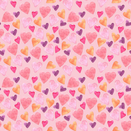 Seamless pattern with hand-drawn watercolor hearts on a pink rose background. Valentine's day texture for design of wrapping paper, postcards, fabric and other souvenir products. Raster illustration of cute hearts.