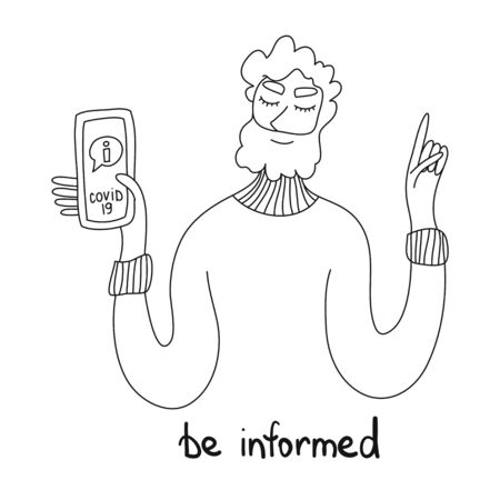 Be informed. You should know that. A man with a smartphone in his hand. Concept of informing people about self protective measures, symptoms and prevention during the coronavirus epidemic. Conceptual photo Recommendation be informed get more knowledge