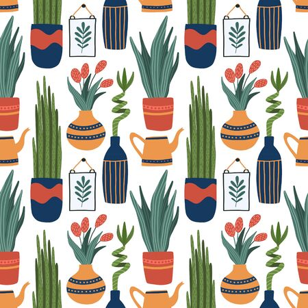 Vector seamless pattern with indoor plants in pots and vases - bamboo, sanserif, snake tongue, watering can, tulip flowers .