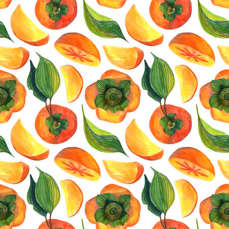 Watercolor seamless pattern of persimmon on a white background. Floral illustration for wrapping paper, textiles, greeting cards and invitations. seamless pattern food ingredient, organic. Stok Fotoğraf
