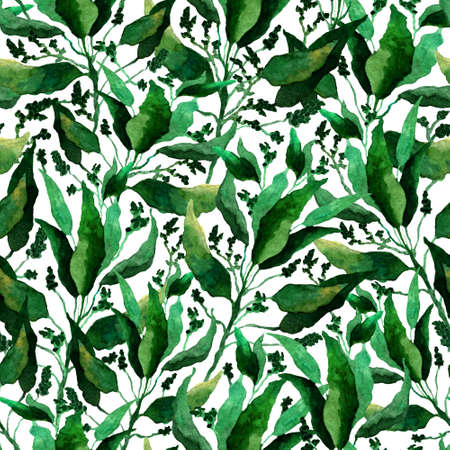 Seamless pattern with stylized leaves. Floral endless pattern filled with green leaves. Fresh greenery background, wallpaper, textile print.Watercolor hand drawn illustration on a white background. Monochrome flowers,leaves, herbs background.