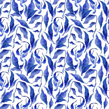 Hand painted watercolor ink leaves seamless floral pattern background. Blue leaves seamless watercolor leaf pattern. Winter mood. Floral background for fabric, wallpapers, gift wrapping paper, scrapbooking.