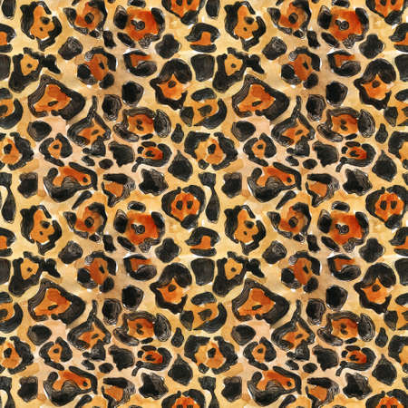 Watercolor hand painted leopard endless print with brown, orange and black spots for textile, clothes, fabric. Seamless animal print Beautiful watercolor spotted skin pattern on black background
