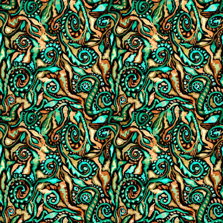 Watercolor ornate floralWatercolor ornate floral seamless pattern in green and  colors.