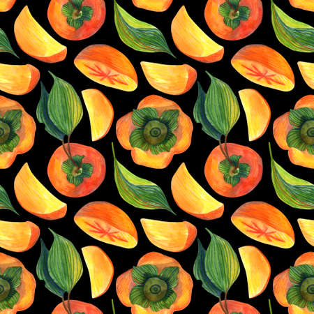 Watercolor seamless pattern of persimmon on a black background. Floral illustration for wrapping paper, textiles, greeting cards and invitations. seamless pattern food ingredient, organic.