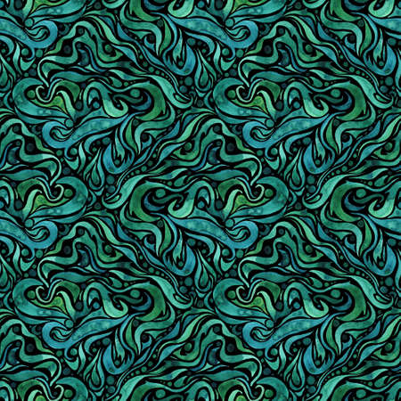 Watercolor ornate floralWatercolor ornate floral seamless pattern in green and blue colors. Colorful botanical print with leaves.