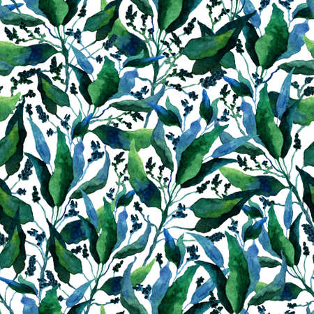 Seamless pattern with stylized leaves. Floral endless pattern filled with green leaves. Fresh greenery background, wallpaper, textile print. Watercolor hand drawn illustration on white background. Monochrome flowers,leaves, herbs background.