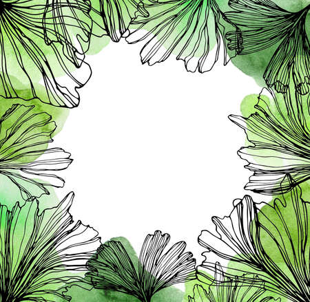 Square frame with watercolor sketches of ginkgo biloba green leaves. Hand drawn square botanical herbal template with plants for invitation, save the date, greeting card, banner, wedding, decoration with copyspace. Square banner for social networks and web design. Stok Fotoğraf