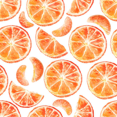 Watercolor seamless pattern with mandarins slices. Tangerine, clementine background. Hand painted sketch elements for design Can be used for textiles, stationery, corporate identity, wallpaper.