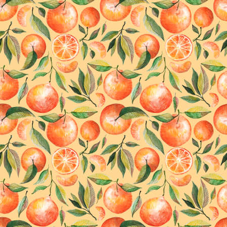 Watercolor seamless pattern with oranges tangerines citrus fruits green leaves isolated on yellow background. Fruit repeated background. Botanical illustration for fabric textile Stok Fotoğraf