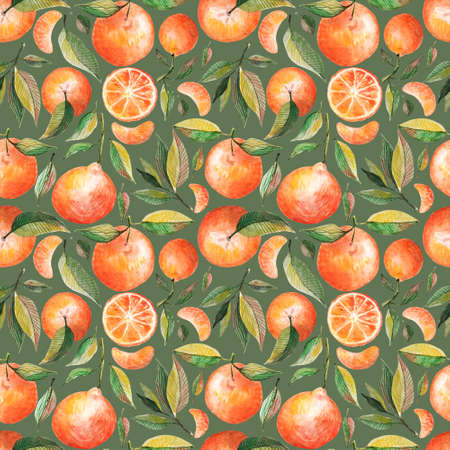 Watercolor seamless pattern with oranges tangerines citrus fruits green leaves isolated on black background. Fruit repeated background. Botanical illustration for fabric textile Stok Fotoğraf