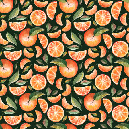 Watercolor seamless pattern with oranges tangerines citrus fruits green leaves on dark green background. Fruit repeated background. Botanical illustration for fabric textile